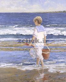 نقاشی ساحل دریا کودک