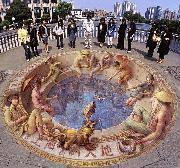 نقاشی زیبا روی زمین